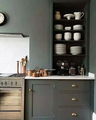 开放式厨房灰色橱柜图片