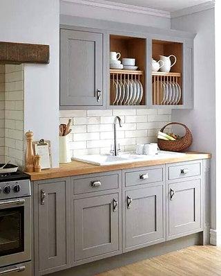 开放式厨房灰色橱柜设计
