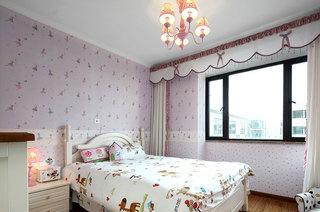 淡紫色美式儿童房碎花背景墙设计