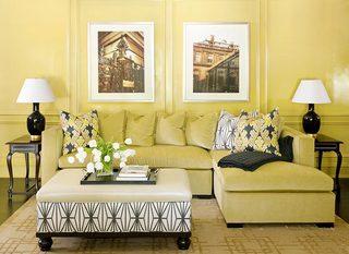 黄色客厅布置摆放图