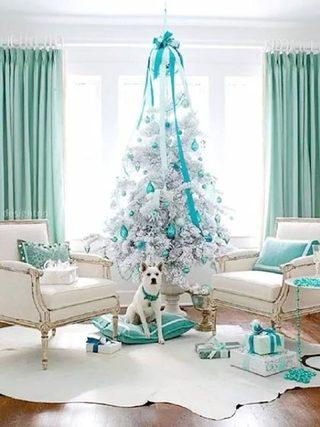 蓝色系圣诞客厅图片
