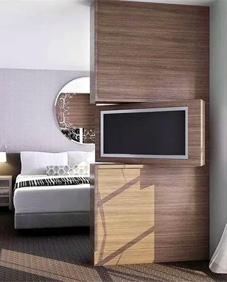卧室电视背景墙隔断装修图