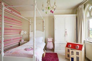 粉色系儿童房设计摆放图