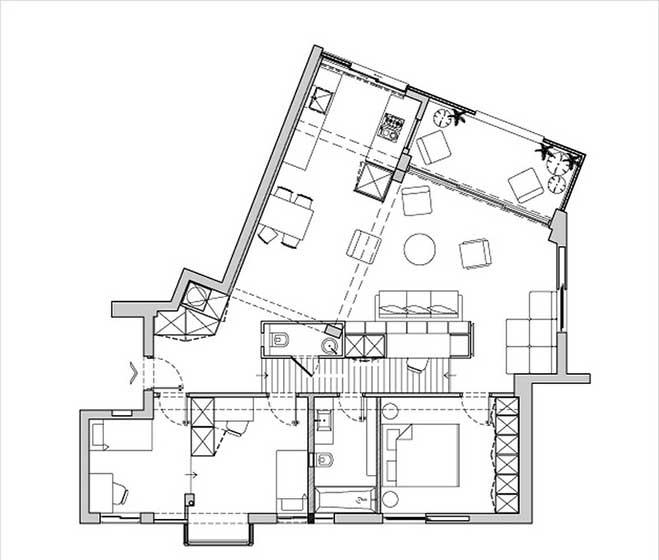 90㎡简约风两居室设计平面图