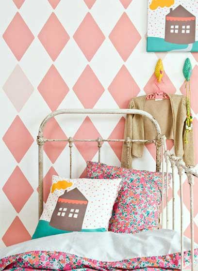 粉色系儿童房壁纸效果图