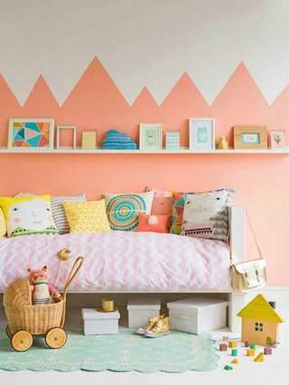 粉色系儿童房收纳实景图