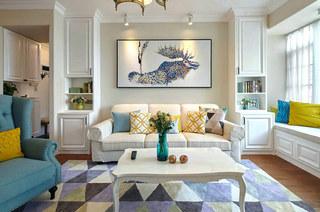 140平美式风格二居三人沙发设计