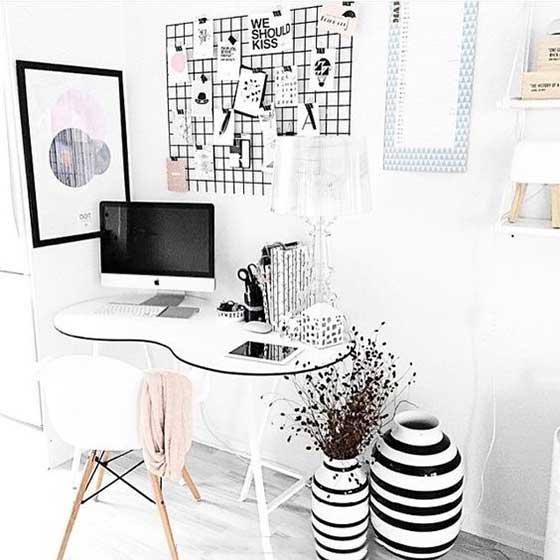家庭小书桌背景墙欣赏图