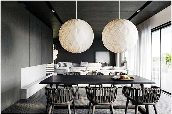 黑白色餐厅装修装饰效果图
