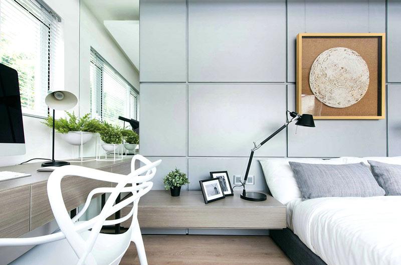 350平别墅装修卧室床头设计