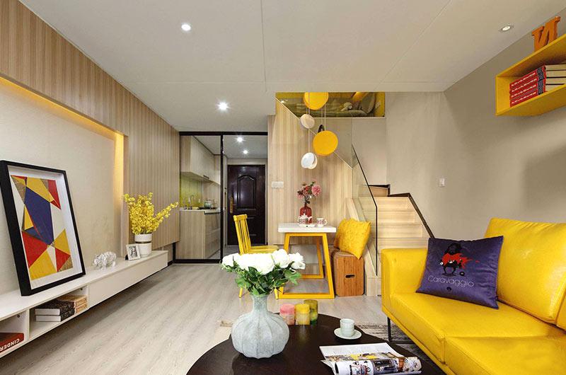 小户型复式楼房装修效果图 色彩创造无限可能