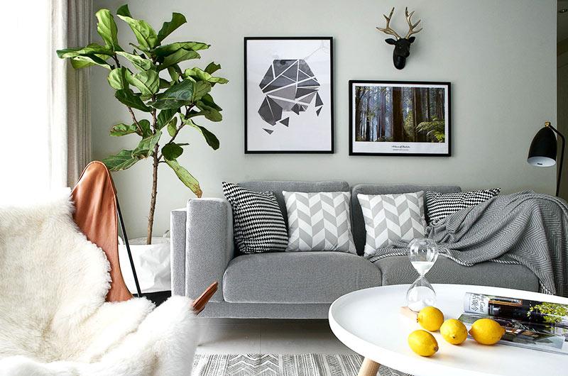 90平简约风格公寓客厅效果图