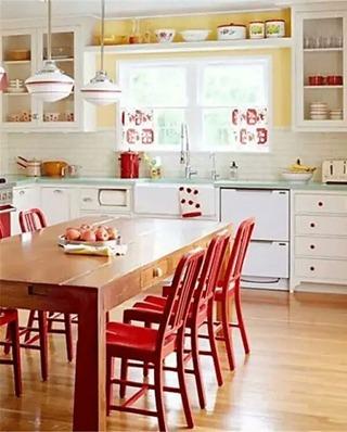 木质红色餐椅效果图