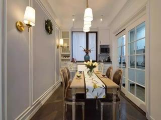 100平美式风格三居室美式餐厅吊灯设计图