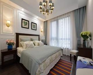 100平美式风格三居室美式卧室窗帘图片