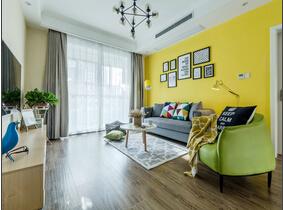 90平北欧风格两居室装修 黄色点缀时尚空间