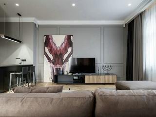 混搭风格大户型装修电视背景墙图片