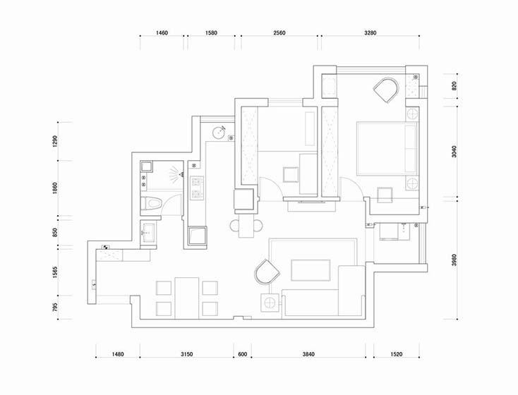 混搭风两居室装修平面图