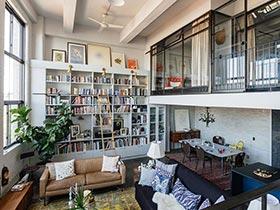 复式房子装修效果图  以书为墙