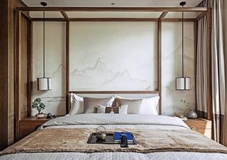 150平新中式风格装修卧室背景墙