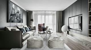 时尚三居室装修灰色墙面装饰