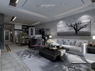 140平现代风客厅沙发墙装修效果图