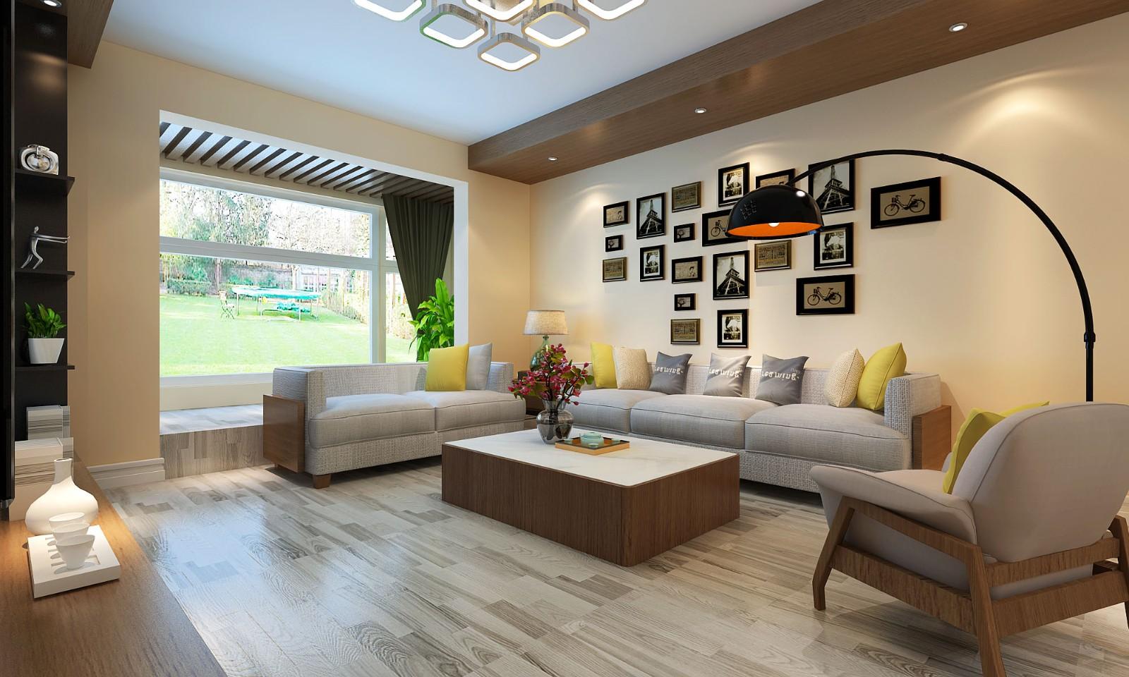 130㎡现代混搭风格沙发背景墙装修效果图