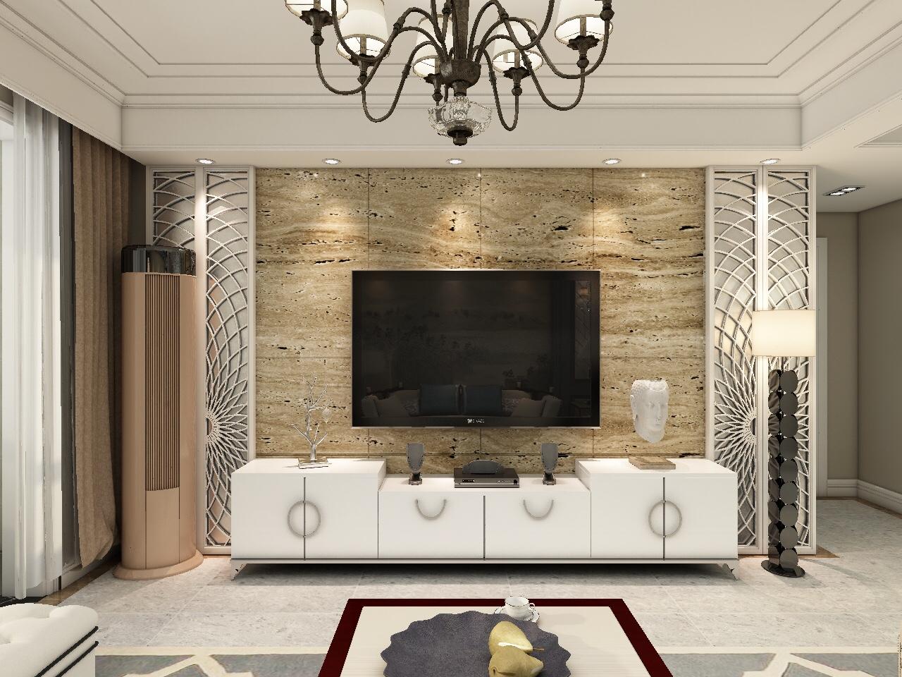 美式新中式混搭电视背景墙装修效果图