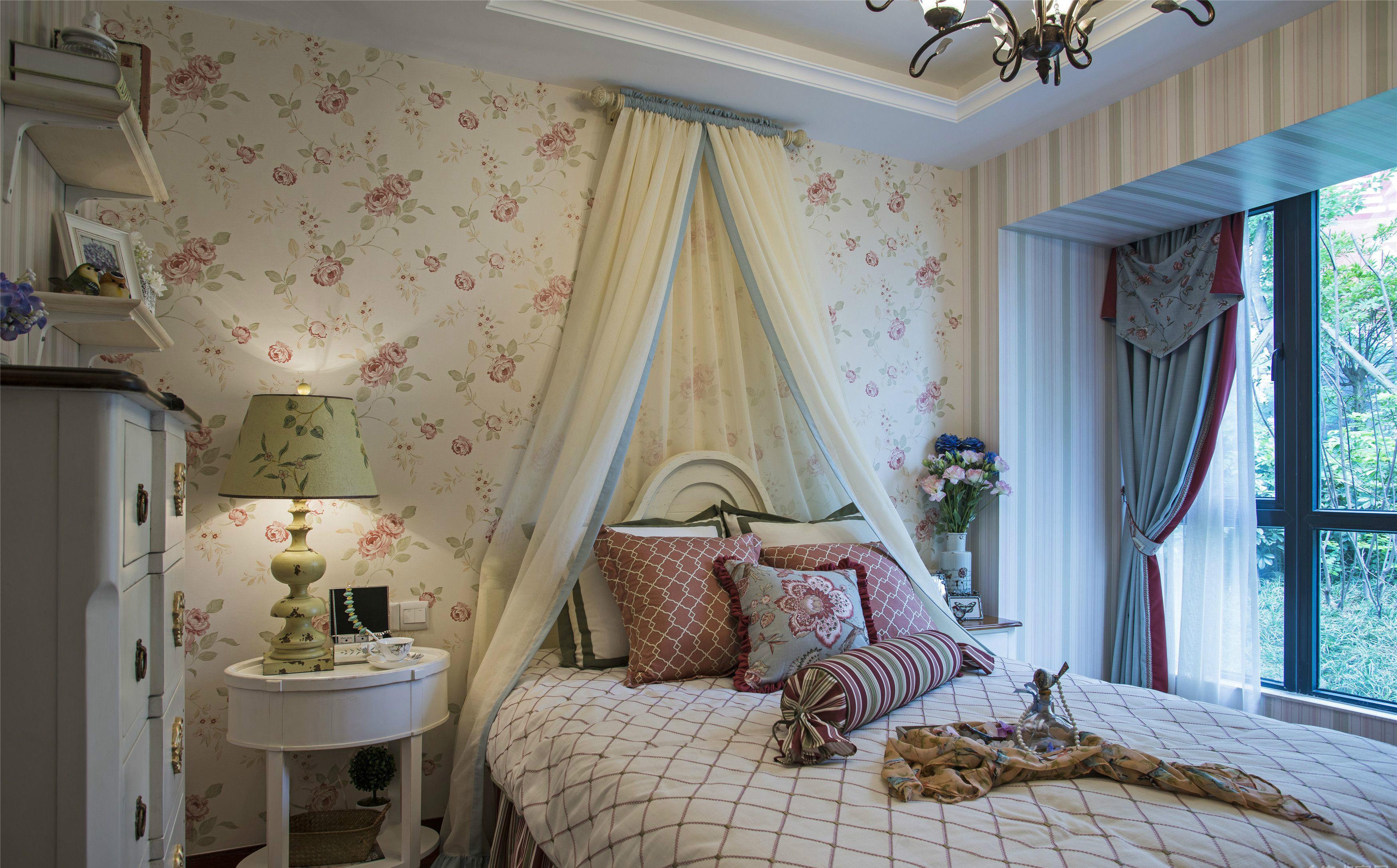 三居室田园风格卧室装修效果图