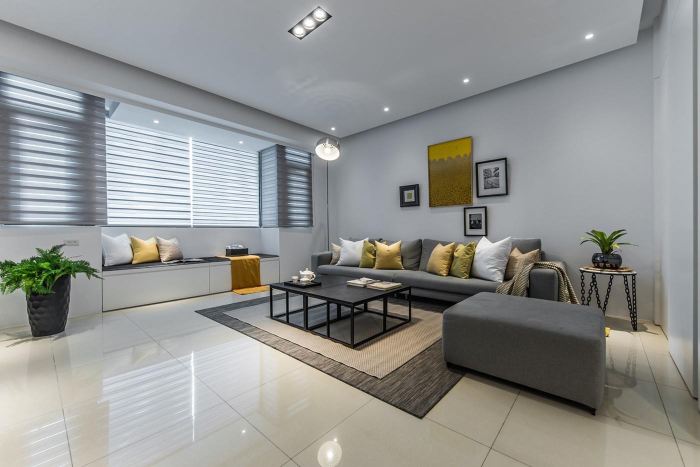 大户型简约现代风格沙发背景墙装修效果图