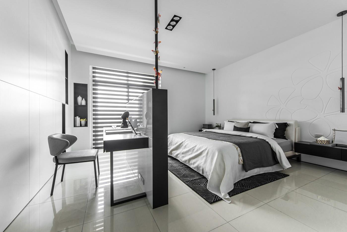 大户型简约现代风格卧室隔断装修效果图