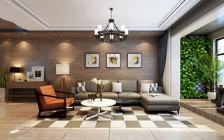 混搭风格二居室沙发背景墙装修效果图