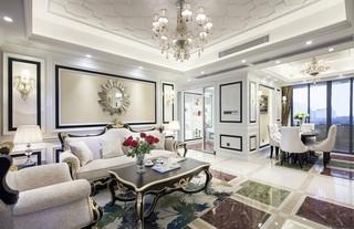 140平新古典风格客厅装修效果图