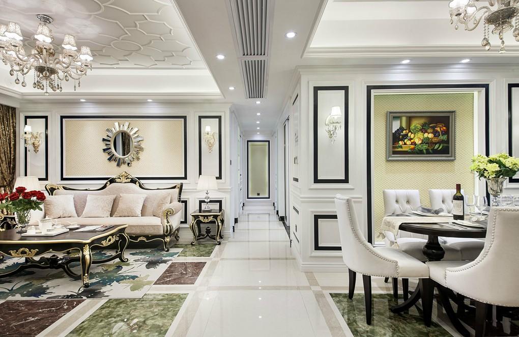 140平新古典风格客餐厅过道装修效果图