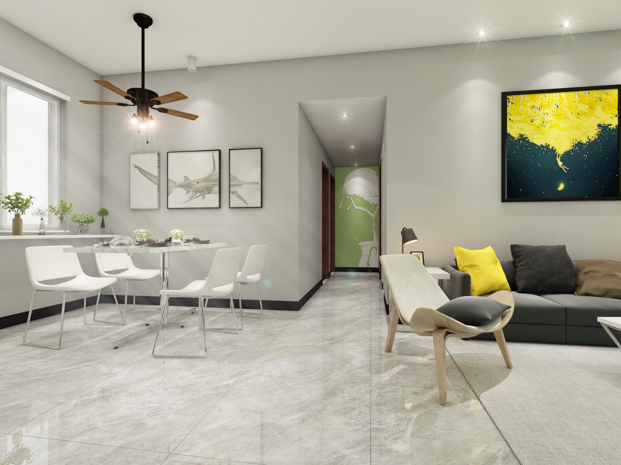 简约风格三居室客餐厅装修效果图