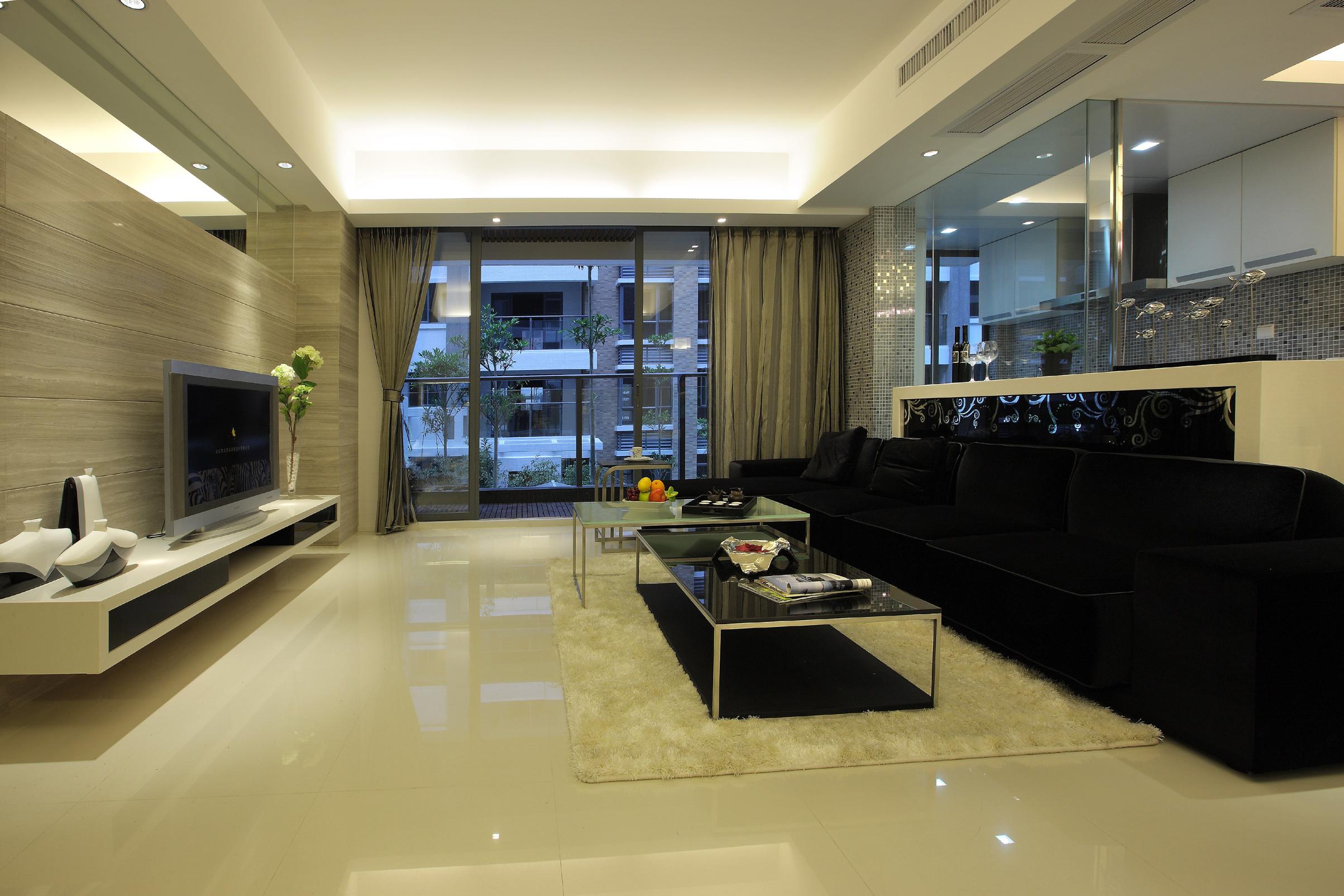 现代简约两居室客厅装修效果图