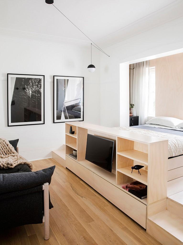 超小户型公寓电视柜隔断装修效果图