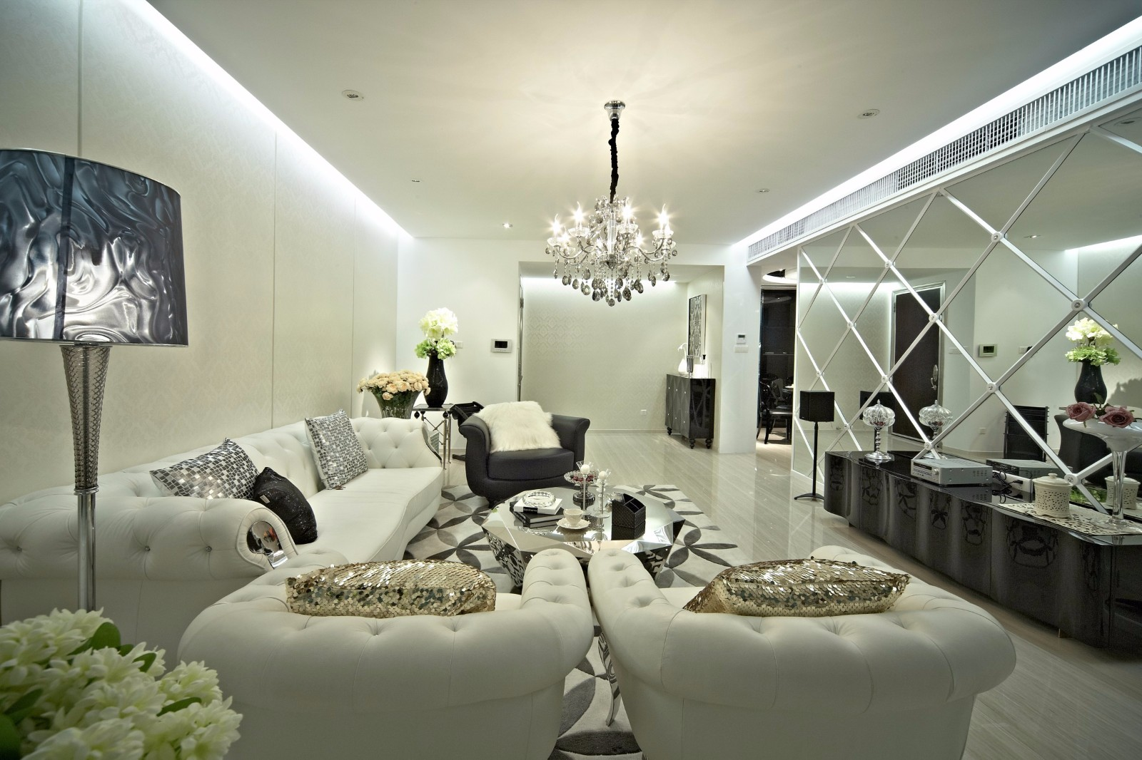 新古典风格三居客厅装修效果图