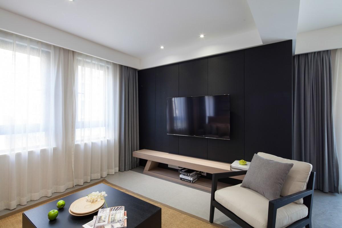 现代简约二居室黑色电视背景墙装修效果图