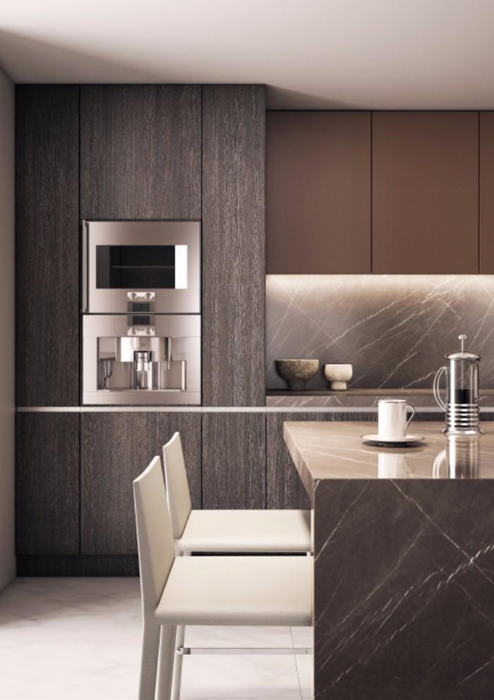 灰调现代公寓厨房装修效果图