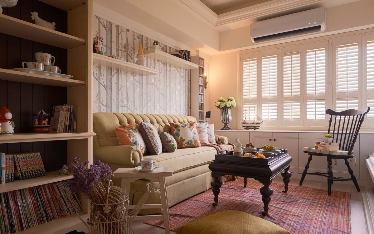 72平现代田园风格沙发背景墙装修效果图