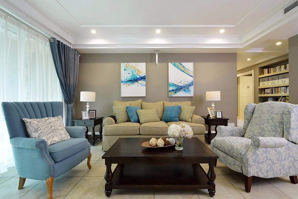 现代美式风格客厅装修设计图