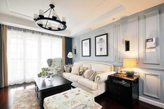 两居室美式风格沙发背景墙装修效果图
