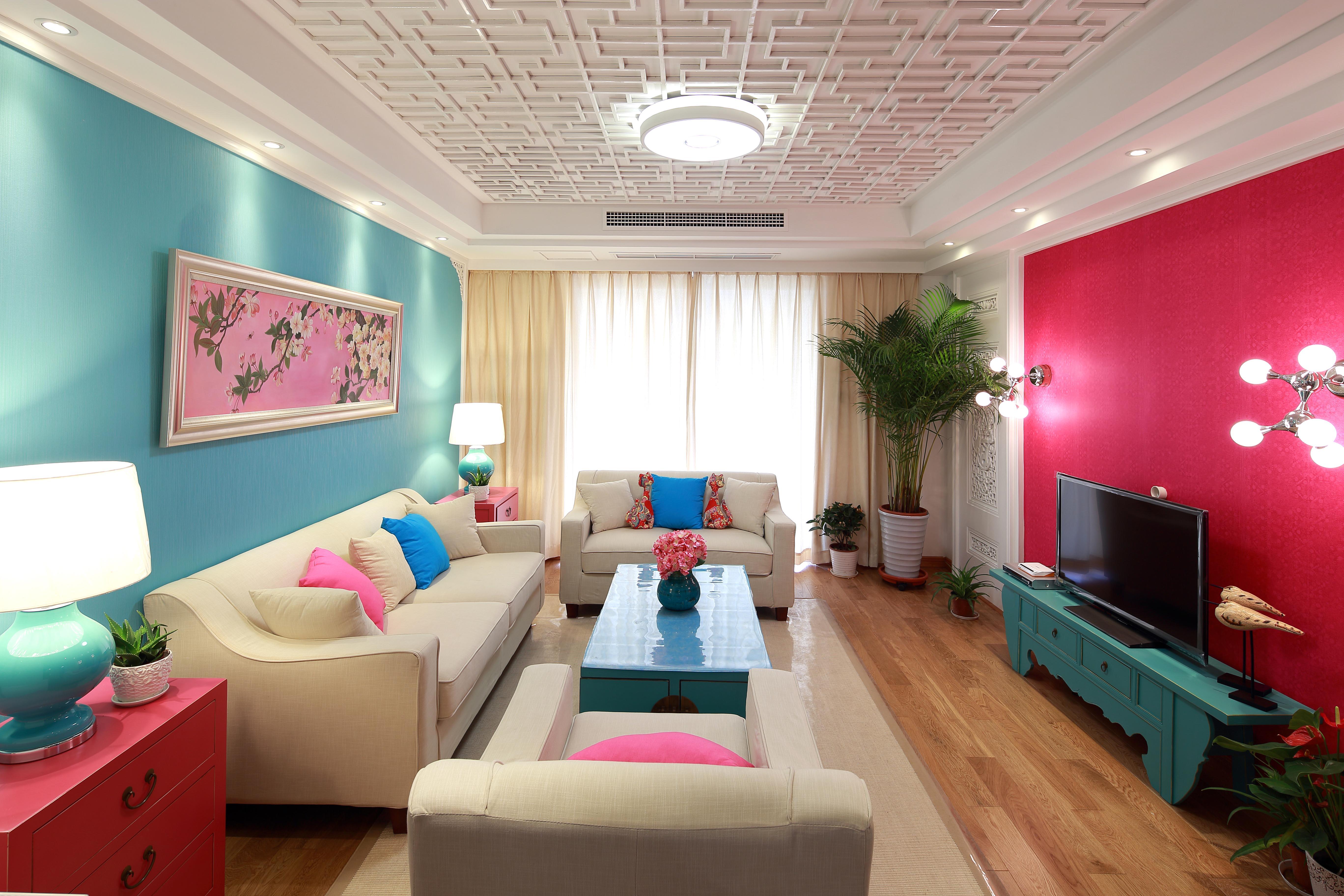 中式混搭三居客厅装修效果图