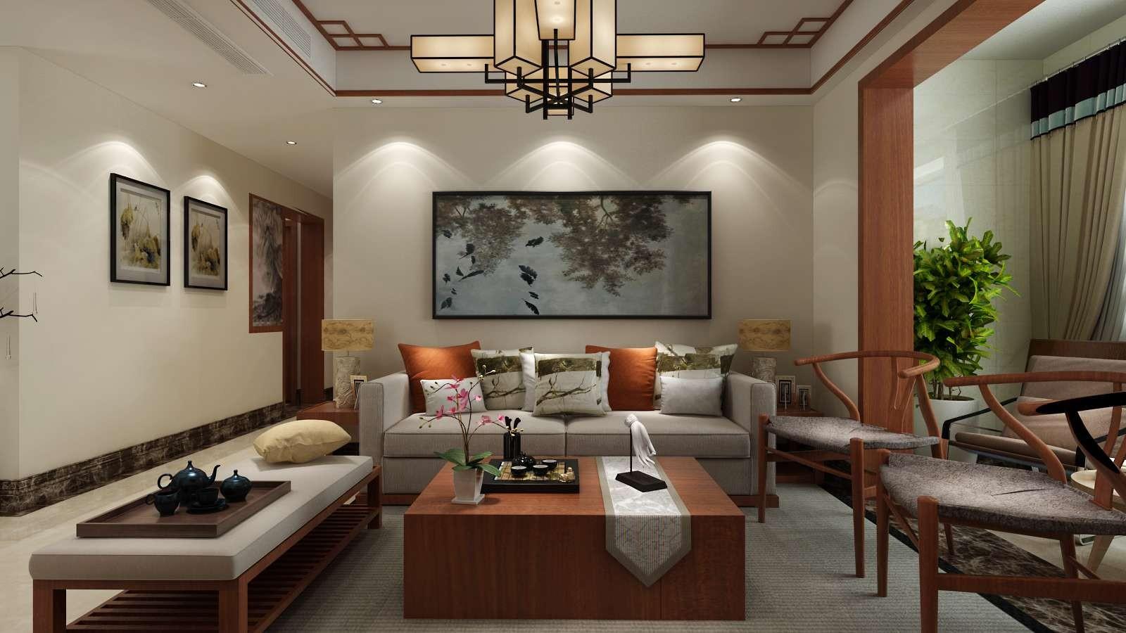 110平米新中式沙发背景墙装修效果图