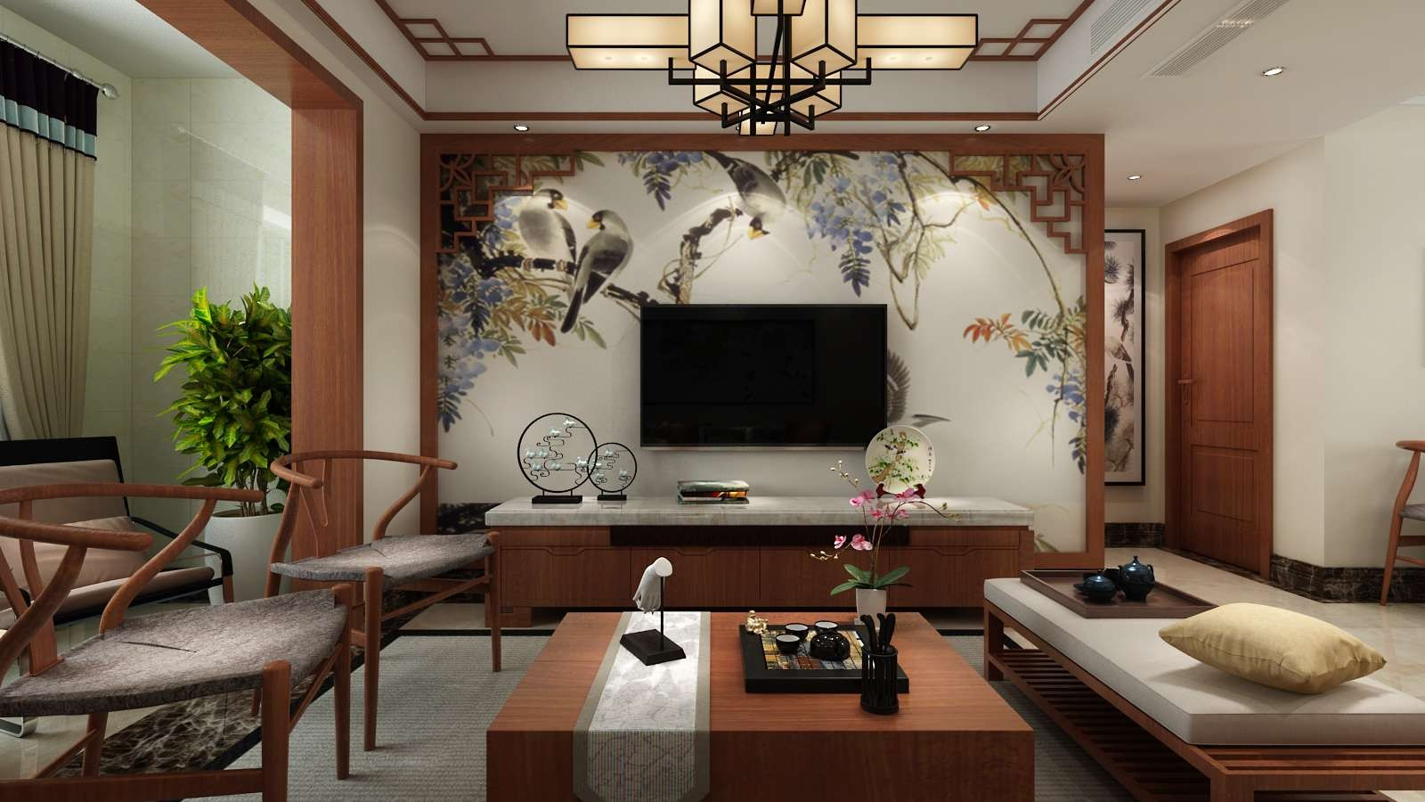 110平米新中式电视背景墙装修效果图