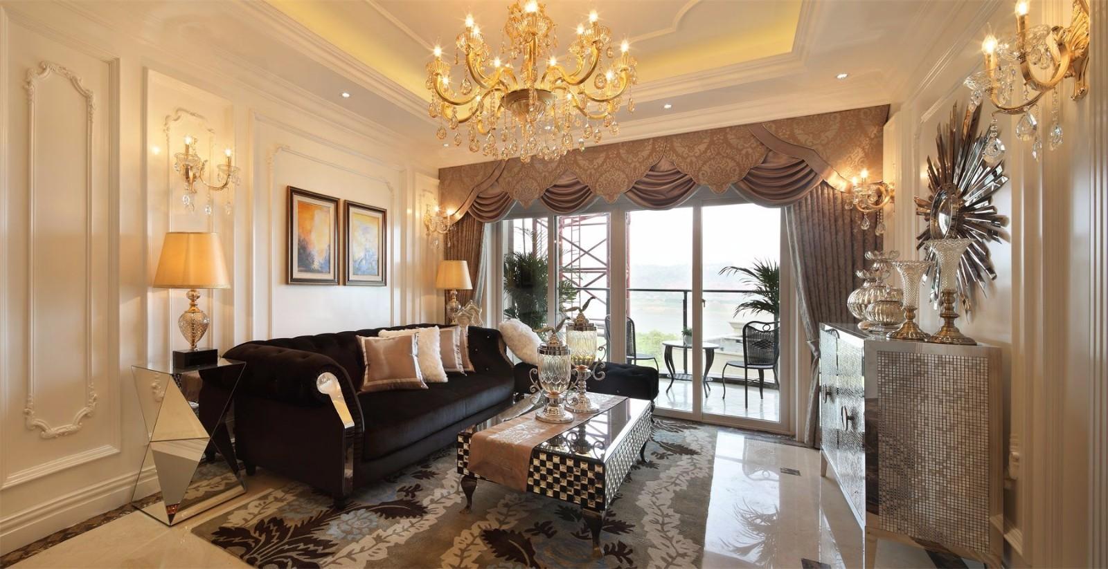 法式风格别墅客厅装修设计效果图