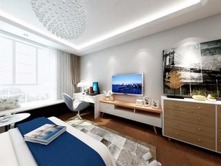 现代风格三居卧室飘窗装修效果图