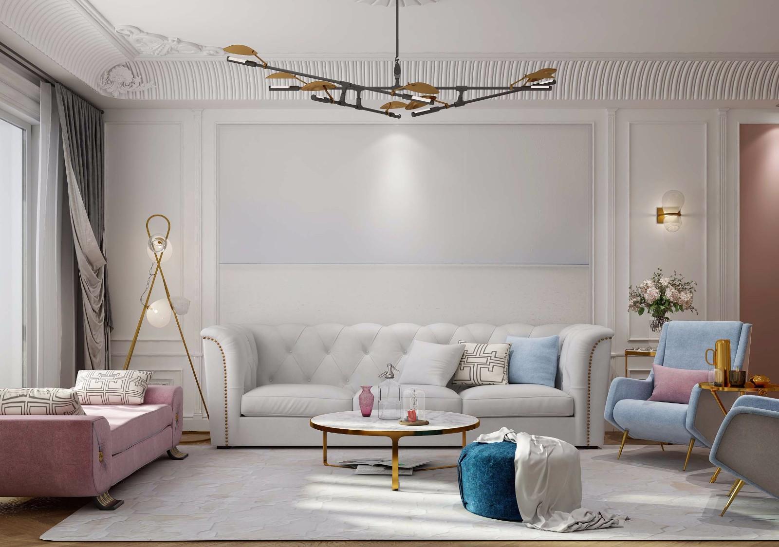 170平简欧风格沙发背景墙装修效果图