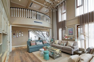 复式美式风格别墅客厅装修效果图